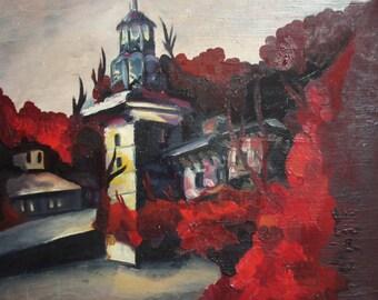 Vintage landscape cityscape oil painting