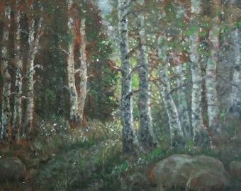 Vintage European forest landscape oil painting signed