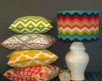 Australian Made Lampshade, Multi Coloured Chevron Drum, Available in 2 Sizes and 2 Fittings, Made to Order 1-2 weeks