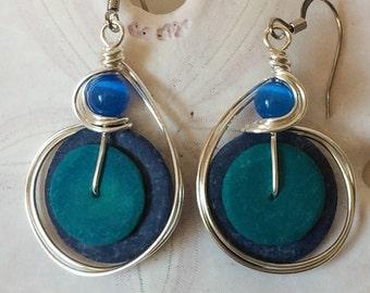 Blue Earrings, Coconut Shell Jewelry, Funky Earrings, Tribal Jewelry