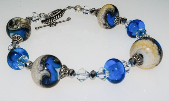 Handmade lampwork bead Oceana bracelet