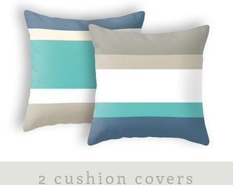 2 cushion covers. Stripe pillow stripe cushion teal pillow coastal pillow nautical pillow stripes pillow teal cushion nautical cushion