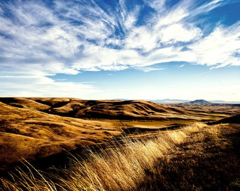 Western Montana Highwood Belt Rocky Mountains Gold Blue Wheat Big Sky Landscape Photography Home Office Large Wall Decor Fine Art Nature