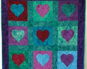 Hearts and Batiks Quilt - bold colors 40 x 40