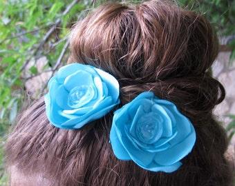 Turquoise Hair pins, Bridal flowers, Hair flowers,  A pair of turquoise hair clips, Turquoise bloom, Set of 2 hair flowers in turquoise