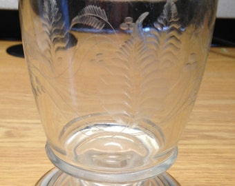 Vintage Pedestal Glass Water/Tea Goblet Tumbler Etched Flowers 5""