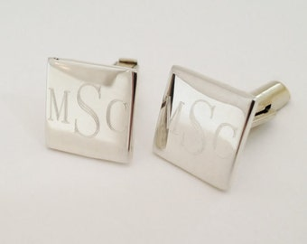 925 Sterling Silver Cuff Links / Custom Monograme Engraved