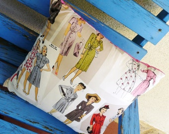 Vintage Sewing Pattern Cushion Pin Up Pillow Cover Retro Rockabilly Women Home Decor Decoration