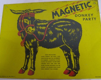 """SALE  Tin 1950's"""" Pin the Tail"""" on the Donkey Sign"""
