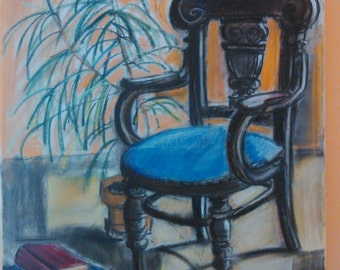 Grandma's chair - dry pastel painting on canvas