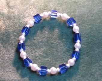 Royal blue and white bracelet
