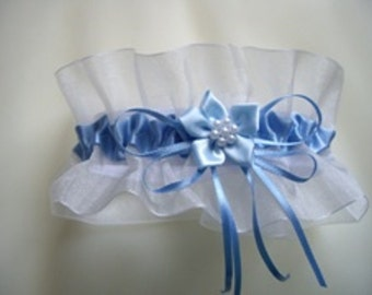 Wedding Garter Handmade in Satin and Organza, Available in Blue and Ivory or Blue and White
