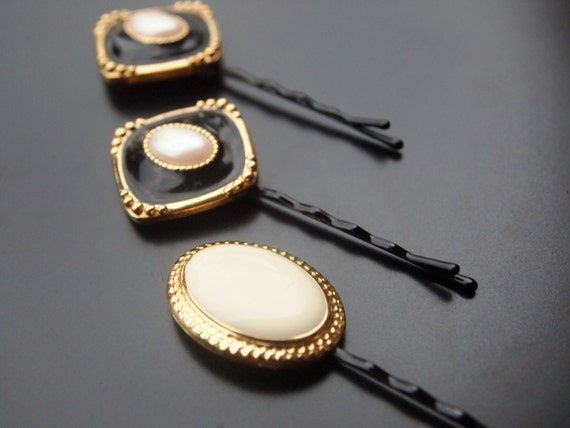Antique Hair Pins - Pearls and Gold Trim - (Set of 3) Embellished Bobby Pins