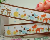 "7/8"" Grosgrain Ribbon Woodland Animals 3 yards"
