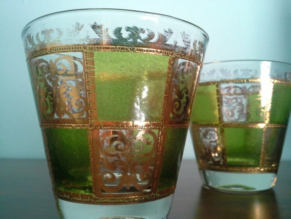 Pair of Culver Prado Lowball Tumblers in Green and Gold