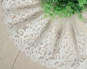 White Lace Cotton Trim Embroidery Tulle Lace Trim 6.29 Inches Wide 2 Yards K032