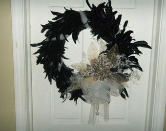 ON SALE Black feather wreath, zebra print focal floral, tulle ribbon and dried flower and fillers including pearls and drusy quartz. #129.