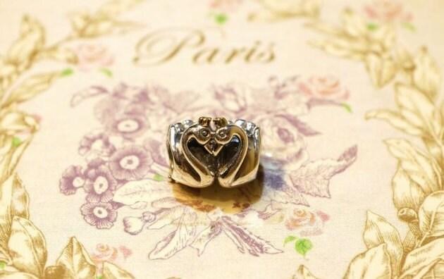 Pandora Charm, 925 silver,crown, swan embrace