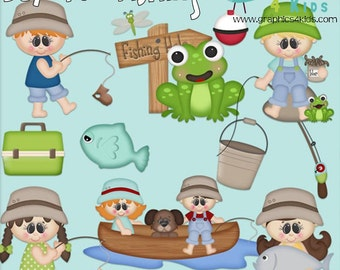 Days for fishing Digital Clipart - Clip art for scrapbooking, party invitations - Instant Download Clipart Commercial Use