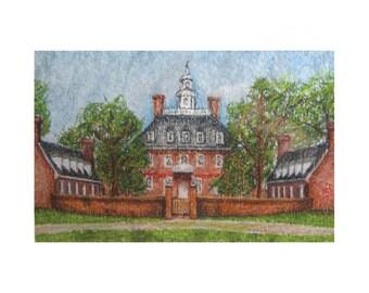 Governor's Palace Print - Williamsburg, VA - pastel & watercolor print