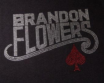 """Brandon Flowers (12""""x8"""") in Brilliant colored rhinestones cotton T-shirt or Tank Top-**Free shipping in the U.S.**"""