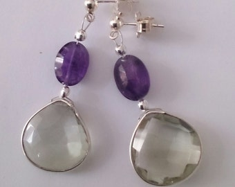 earings with purple and green amythyst and sterling silver