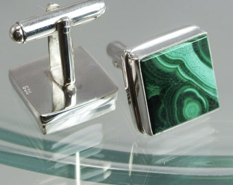 Malachite Sterling Silver Cufflinks