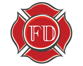 """Red Fire Fighter EMBLEM Rescue Department- 6.5"""" Fabric Quilt Block- Firemen """"Style 2"""""""