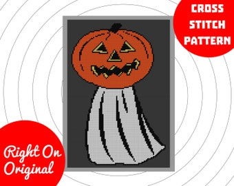 Pumpkin Ghost Halloween Cross Stitch Pattern
