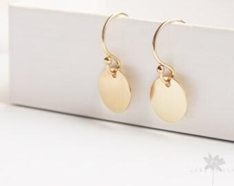 Small 14ct gold filled circle disc geometric drop dangle earrings
