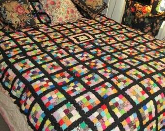 Stunning HUGE crochet blanket VINTAGE granny square