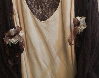 Victorian or Steampunk Look Altered Couture Shruggie Sweater Size XL