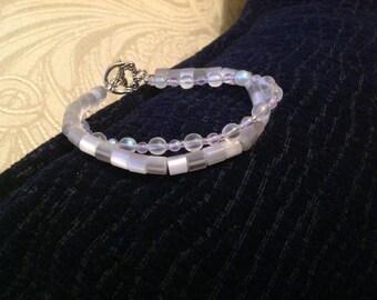 White Beaded Bracelet, Two Strand Bracelet, white glass bracelet, white bracelet, bridal bracelet, budget bridal jewelry, boho bride