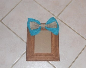 5x7 Rustic Picture Frame with Turquoise and Brown Burlap Bow