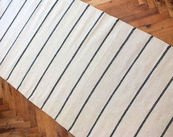 Hand woven wool rug - made to order - stylish white with black stripes - handwoven wool rug to decorate your home