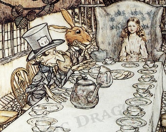"Arthur Rackham ""The Mad Tea Party"" 1907 Reproduction Digital Print  Alice In Wonderland Mad Hatter Hare Alice"