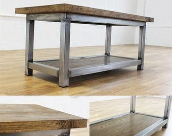 Wadsworth Industrial Oak and Steel Coffee Table