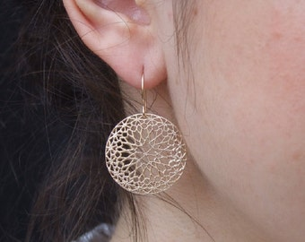 Round Flower Dangle Earrings, 14K Yellow Gold Plated Earrings, Geometric Design Earrings