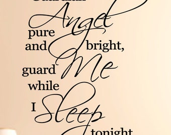 Guardian Angel  Vinyl Wall Decal, Nurseries Wall Decal, Custom Wall decal, Custom wall quote,Wall Quote, Removable wall Decal