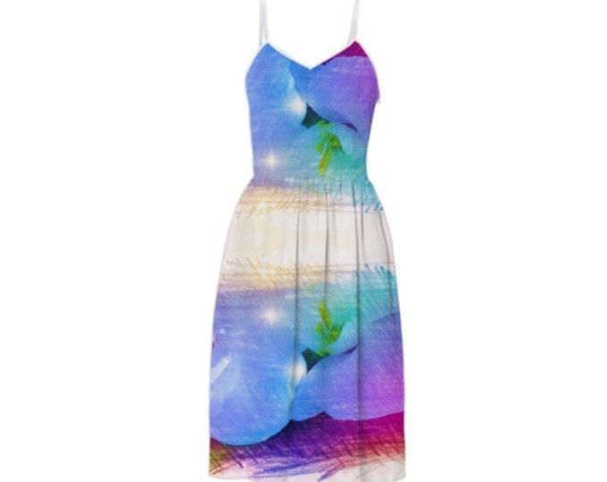 Blue Petals Fashion Summer Dress - Party Dress,Long Dress,Sleeveless Sundress,Braces Floral Dress,Sling Dress,Blue Dress,Custom-Made Dress