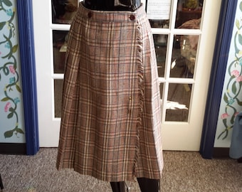 vintage 1970 wool wrap skirt with big safety pin. for women mad men look