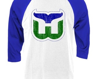 HARTFORD WHALERS retro hockey Raglan baseball vintage style t-shirt