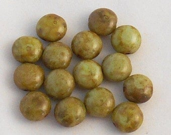 15 Czech green picasso glass beads, 10mm round puffy coin beads C31115