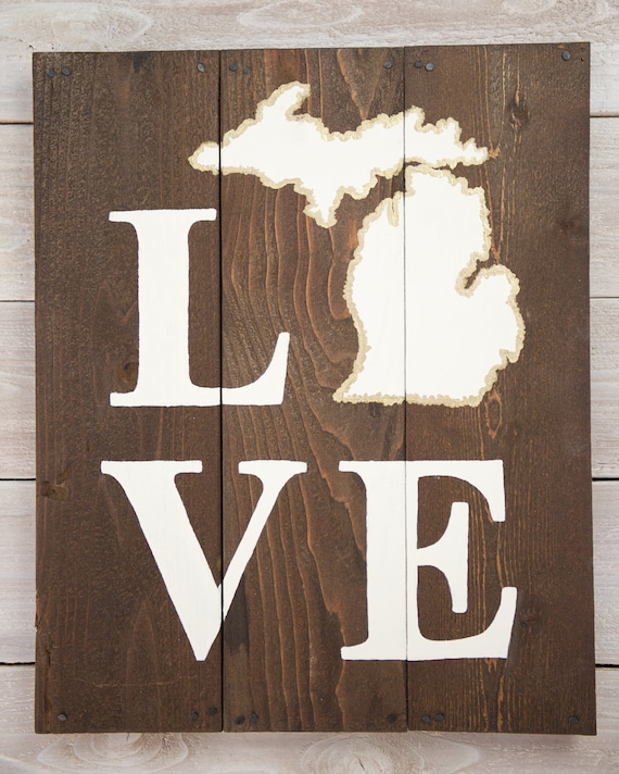 Hardwood Flooring Suppliers Michigan: Items Similar To LOVE Michigan Wooden Sign On Etsy