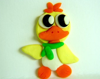 Duck pin, polymer clay with pin mounted on back, about 2 inches high