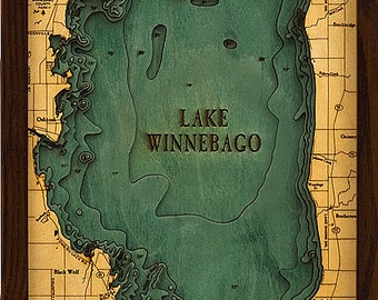 Wood Chart of Lake Winnebago, Wisconsin, 13.5x31 - Medium