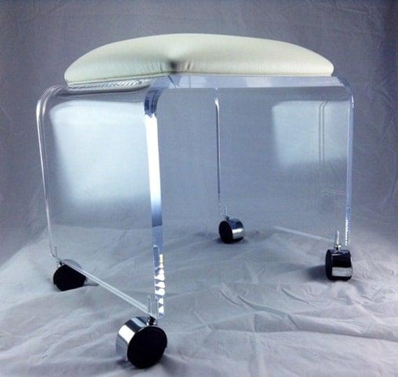 acrylic vanity bench | Clear Acrylic Vanity Bench with Vinyl by OneStopPlasticShop
