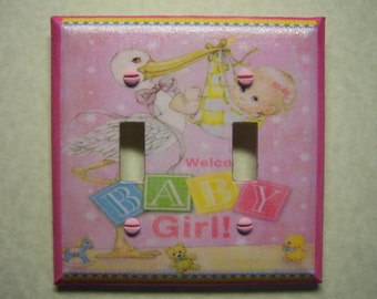 Light Switch Cover Welcome Baby Girl