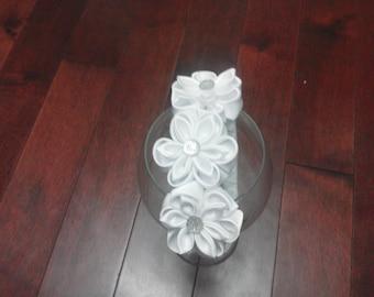 white headband, kansashi headband fabric satin,  Baptist/wedding/ communion