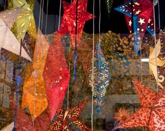 Paper Lantern Stars in Shop Window, Fine Art Photograph